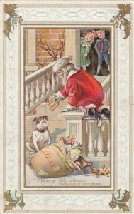 CHRISTMAS, 1908 ; Santa Claus trapped by a Bull Dog