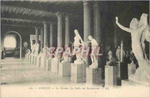 Old Postcard Amiens museum's sculpture room