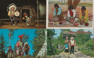 HL-08 - Lot of 4 American Indian Western Souvenir Picture Postcards