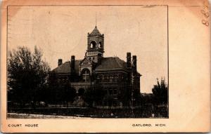 Gaylord Michigan~1880s Courthouse w/WWII Lookout Post~Razed 1960s~B&W 1907 UDB
