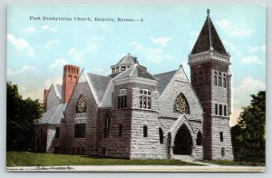 Emporia Kansas~First Presbyterian Church~c1910 Postcard