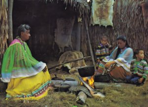 Florida Everglades Indian Cooking Meal Family Cookery Fire Postcard