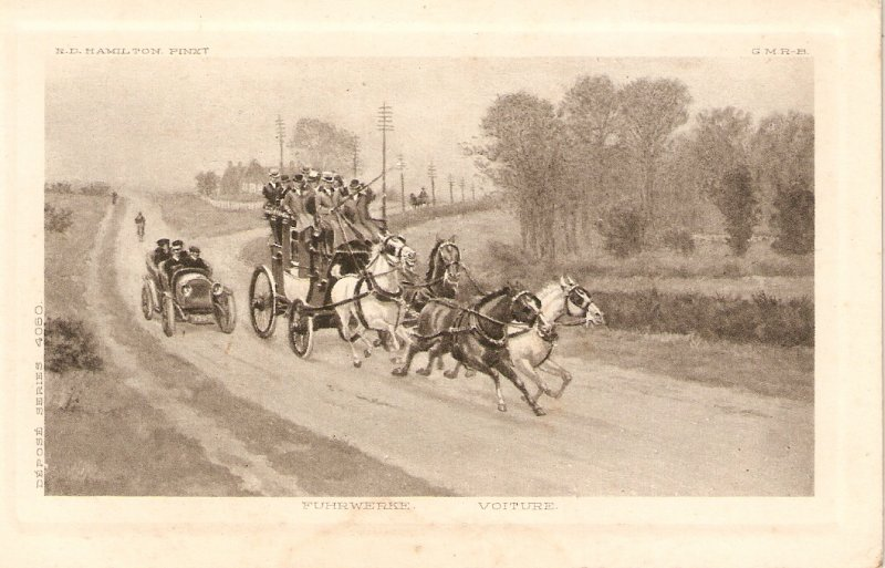 Race stagecoach and car. Horses Nice old vintage Frenchpostcard