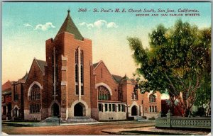 San Jose, California Postcard St. Paul's M.E. Church South Street View c1910s