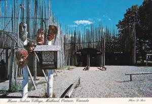 Huron Indian Village, Carved False Face Masks, MIDLAND, Ontario, Canada, 50-70s