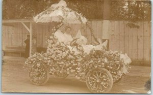 Vintage 1910s RPPC Real Photo Postcard Flower-Covered Automobile - Parade Float