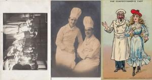 The Confectioners Tart Chef Real Photo Food Tasting 3x Antique Postcard s