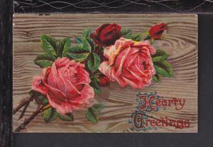 Hearty Greetings,Roses Postcard BIN
