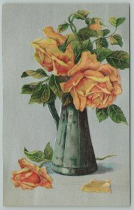 Flowers Greetings~Yellow Roses in Rustic Vase~Fallen Petals~c1910 Postcard