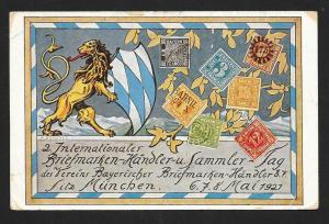 BAVARIA Stamps on Postcard Lion Postal Workers Used c1930s