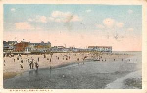 Asbury Park New Jersey Beach Scene Birdseye View Antique Postcard K51826