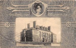 F6/ Ottumwa Iowa Postcard 1908 Fancy Woman School Greetings from