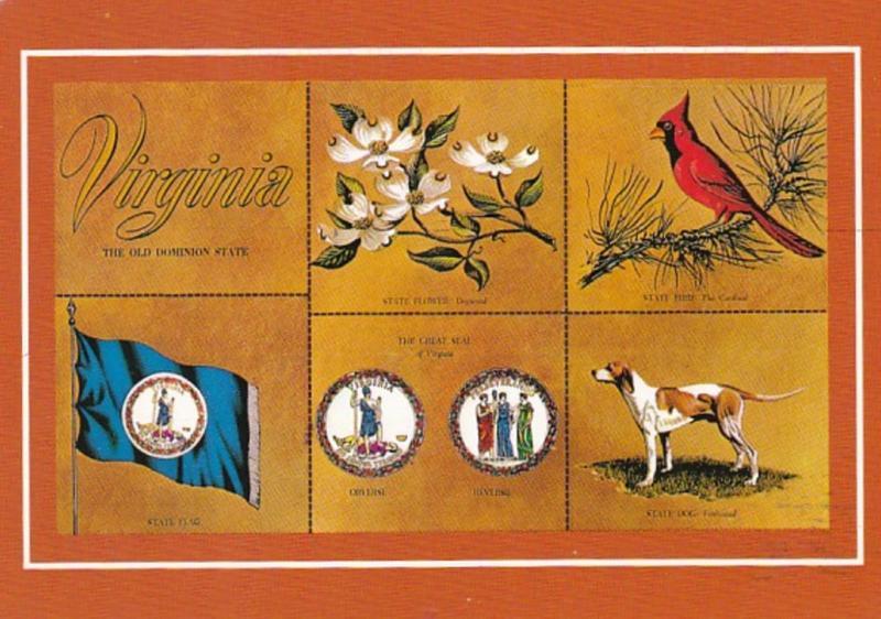 Virginia State Flag Seal Flower Bird and Dog 1996