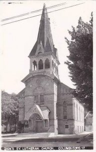 Wisconsin Columbus Zions Evangelical Lutheran Church Real Photo RPPC