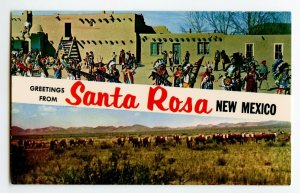 Postcard Greetings from Santa Rosa New Mexico U.S. 66 Standard View Banner Card