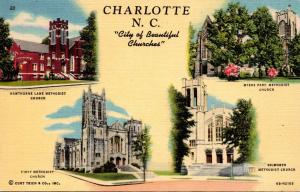 North Carolina Charlotte City Of Beautiful Churches Multi View Curteich