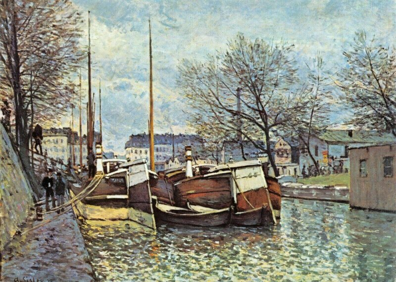 Art Postcard, The Canal St. Martin PARIS, France by Alfred Sisley 39R