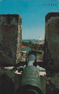 Old Spanish Cannon Overlooking The Capitol Fort San Cristobal, San Juan, Puer...