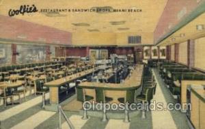 Miami Beach, FL USA Wolfies Restaurant Old Vintage Antique Postcard Post Card...