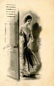 Lady Entering Room - Artist: M. Greiner