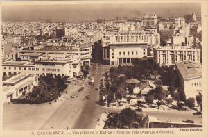 Morocco Casablanca Vue prise de la tour de l'Hotel de Ville Avenue d'Amade