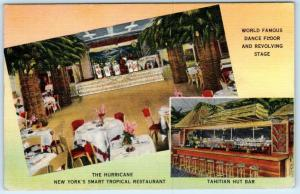 NEW YORK, NY   Roadside THE HURRICANE Tropical Tiki Polynesian 1944  Postcard
