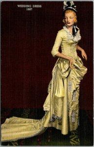 Hastings, Nebraska Postcard HOUSE OF YESTERDAY Museum Wedding Dress 1887 Linen