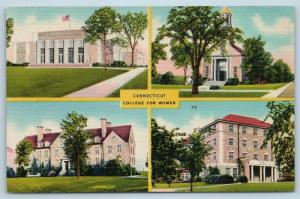 Postcard CT New London Connecticut College For Women Multiview Linen F25