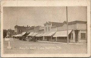 Hartley IA~Keep to Right~Dirt Main St~Sentinel Nerwspaper*~Red's Cafe~1918 RPPC