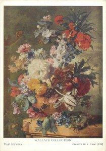 Art signrd Postcard Flowers in a vase painting by Van Huysum