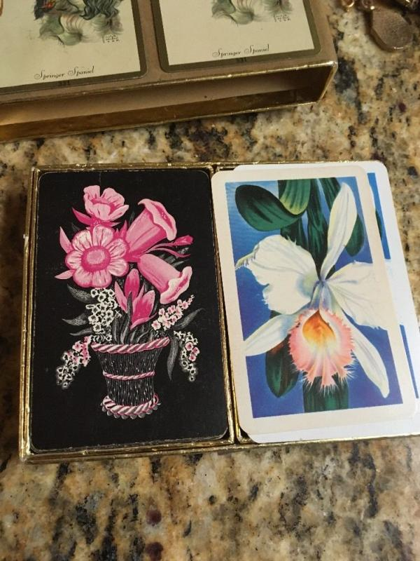 Playing Cards, Art I Floral Double Deck In Congress Spaniel Box