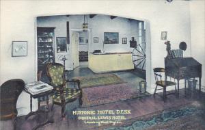 West Virginia Lewisburg The Historic Hotel Desk General Lewis Hotel Handcolor...