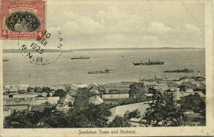 british north borneo, SABAH SANDAKAN, Town and Harbour (1925) Postcard