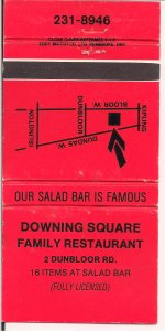 Matchbook Cover ! Downing Square Family Restaurant, Toronto, Ontario !