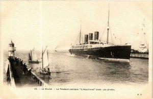 CPA AK Le Havre- Le Transatlantique l'Aquitaine dans les Jetées, SHIPS (762600)