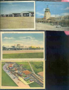 pc10196 postcard US USA Airports States TX WY IL MO MOBSC