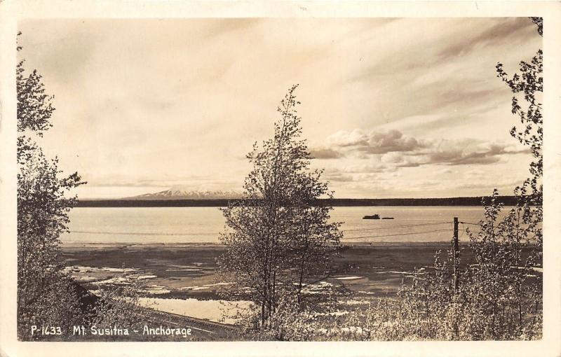 Anchorage Alaska~Mt Susitna View (Waterfront)~Railroad Tracks by Trees~'40s RPPC