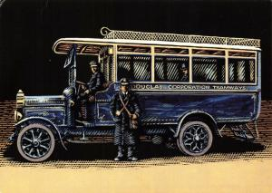 Bus Art Postcard, Straker Squire 25 Seat single deck 1914 MN590 Manx Buses 54S