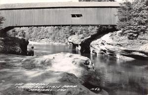Marshall Indiana~Turkey Run State Park~The Narrows Covered Bridge~Side~1940 RPPC