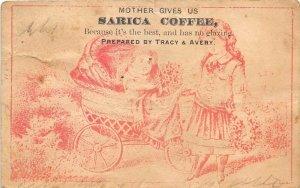 Sarica Coffee Victorian Trade Card Baby Stroller Mansfield Ohio Roaster