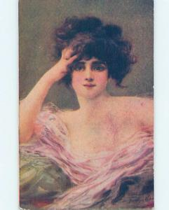 Pre-Linen signed PRETTY GIRL TOUCHING HER HAIR HL4740