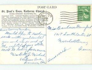 1940's CHURCH SCENE Hanover - Near Gettysburg & York Pennsylvania PA AD1630
