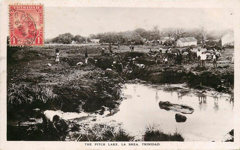 The Pitch Lake, La Brea, Trinidad Real Photo Postcard. Cancel On Front