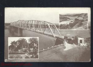 NEBRASKA CITY NEBRASKA WABONSIE BRIDGE MISSOURI RIVER VINTAGE POSTCARD