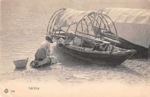 Idillio Italy? Lake Como Washerwoman Laundry Boats Antique Postcard J81089