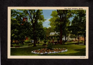 ME City Park Flowers Lewiston Maine Postcard Linen PC