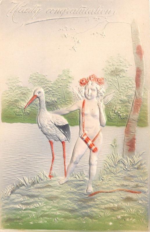 Cupid Hugs Stork~Bow on Ground~Hearty Congratulations Greetings~c1910 Embossed