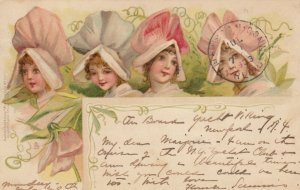 TUCK; Art Postcard No. 721, PU-1903; Four females with Rose Bonnets