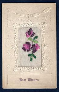'Best Wishes' Embroidered Flowers Used 1919