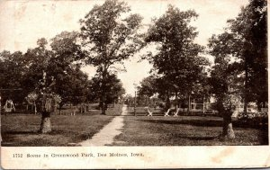 Iowa Des Moines Scene In Greeenwood Park 1908
